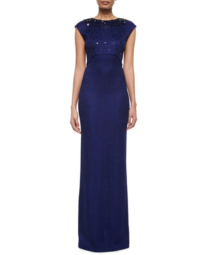 Graduated Sequined Honeycomb Column Gown
