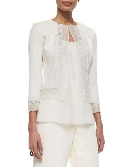 St. John Collection Beaded Organza-Trimmed Boucle Jacket