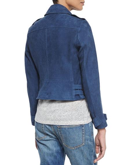 Nubuck Lamb Leather Biker Jacket, Canvas Blue
