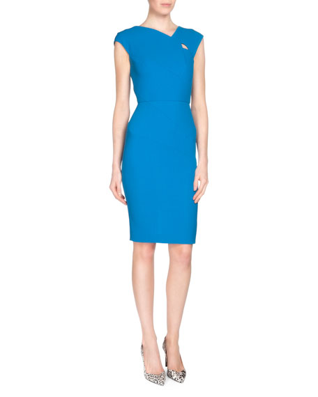 Roland Mouret Barkis Wool Crepe Sheath Dress, Azure