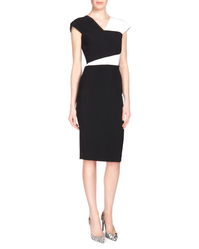 Beadle Stretch Crepe Sheath Dress, Black/White