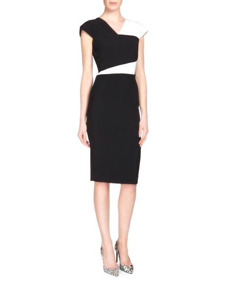 Roland Mouret Beadle Stretch Crepe Sheath Dress, Black/White