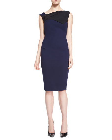 Roland Mouret Lemalia Fold-Detailed Sheath Dress, Navy/Black