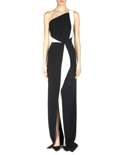 Lilyvick Double Crepe One-Shoulder Gown