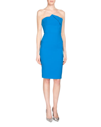 Esther Strapless Pleated Sheath Dress, Azure