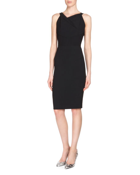 Roland Mouret Gabelle Open-Back Crepe Sheath Dress, Black