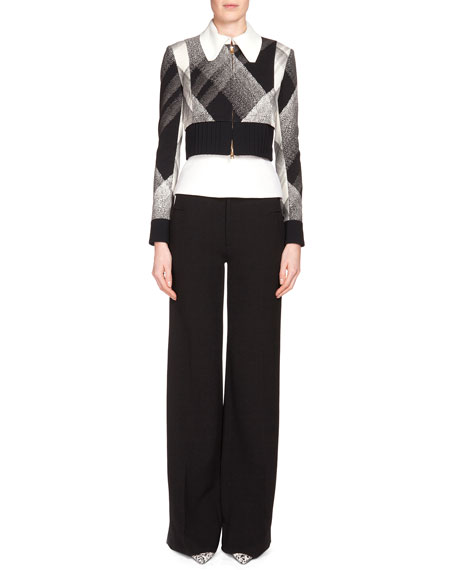 Roland Mouret Cero Check Zip-Front Jacket, Black/White