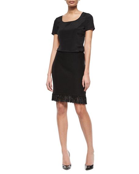 Texture Knit Fringe Mini Skirt