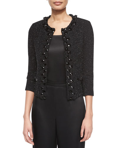 Jewel-Trimmed Knit Cardigan