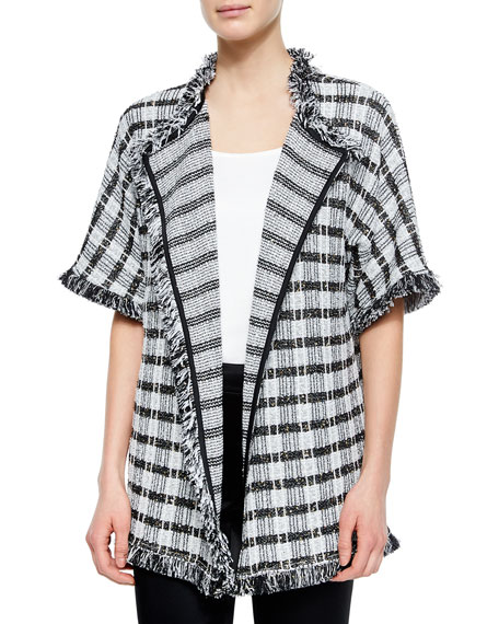 St. John Collection Damier Paillette Tweed Knit Cardigan