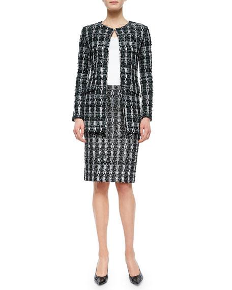 Textured Sparkle Tweed Pencil Skirt