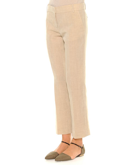 Giorgio Armani Linen-Blend Lightweight Ankle Pants, Beige