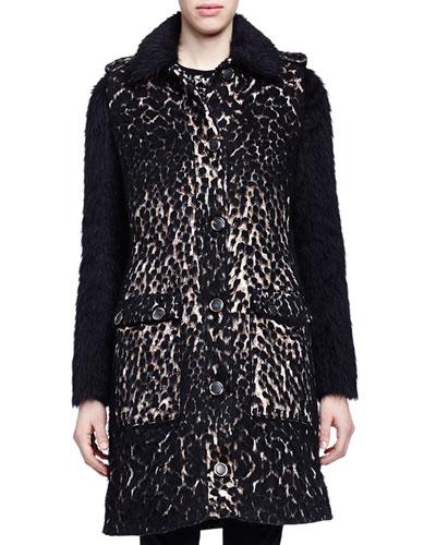 Leopard-Print Shaggy-Weave Coat