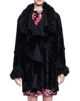 Draped Open Shearling Fur Coat
