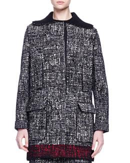 Faux-Fur-Trimmed Contrast-Bordered Tweed Coat
