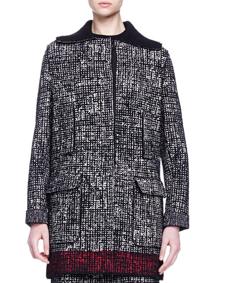 Lanvin Faux-Fur-Trimmed Contrast-Bordered Tweed Coat