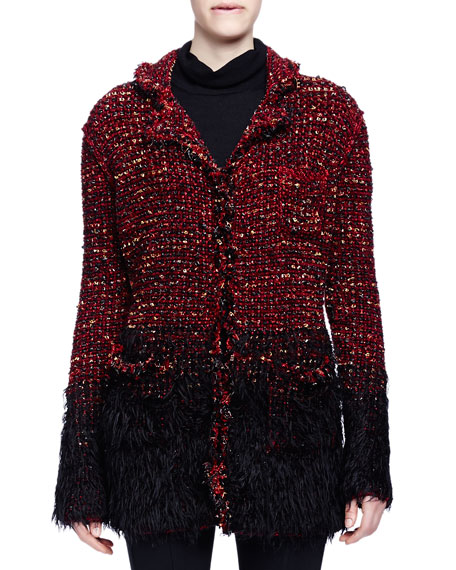Lanvin Boucle-Knit Faux-Fur-Trimmed Coat