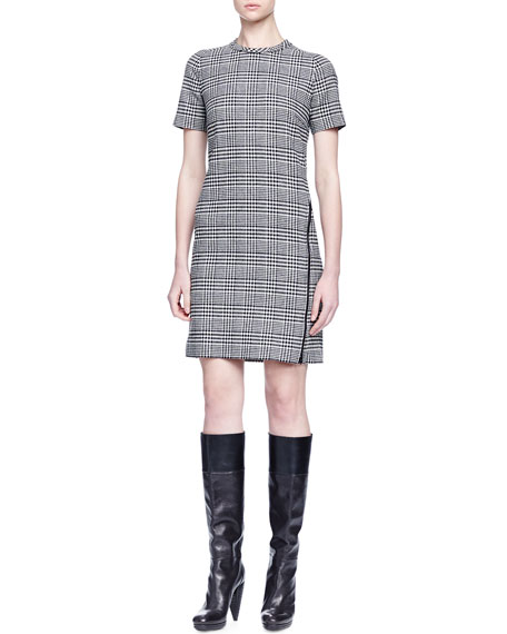 Lanvin Wrap-Around-Zip Glen Plaid Dress