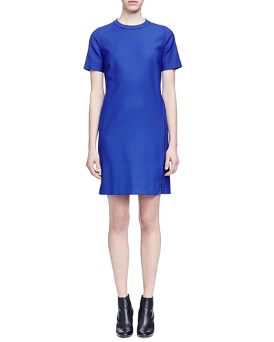 Wrap-Around-Zip Stretch Woven Dress, Royal Blue