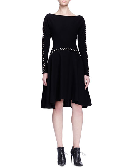 Lanvin Contrast Pick-Stitched A-Line Dress