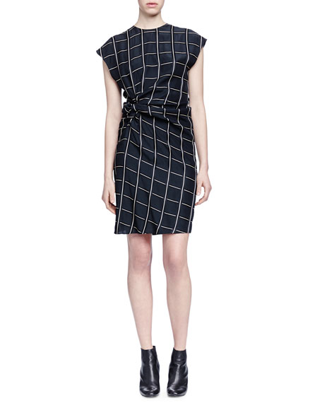 Lanvin Square-Print Side-Ruched Dress