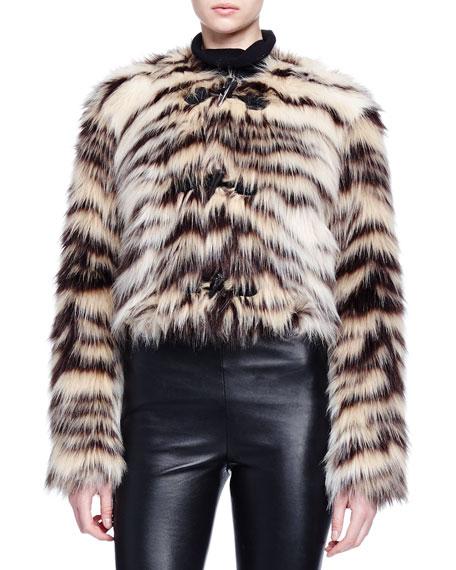 Lanvin Zebra-Striped Faux-Fur Toggle Jacket