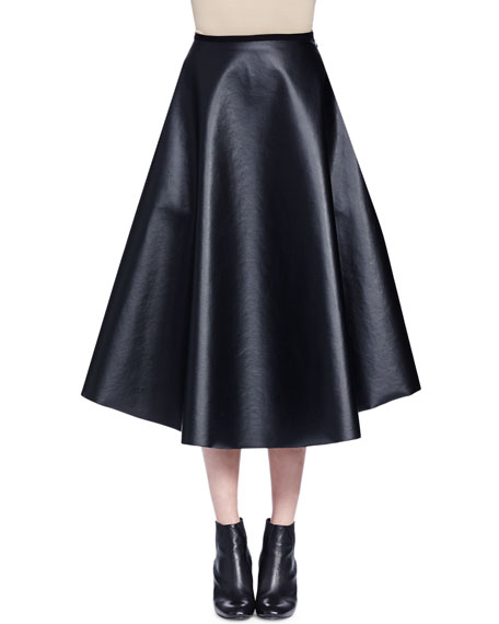 Full Leather Midi Skirt, Black