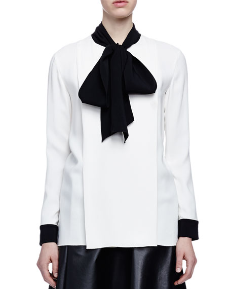 Lanvin Bow-Detailed Crepe Blouse