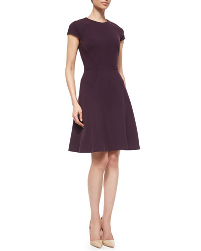 Cap-Sleeve Fit-&-Flare Dress, Plum