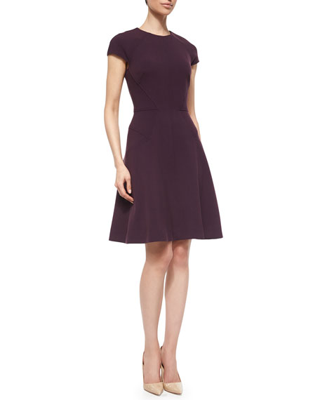 Lela RoseBlair Cap-Sleeve Dress, Plum