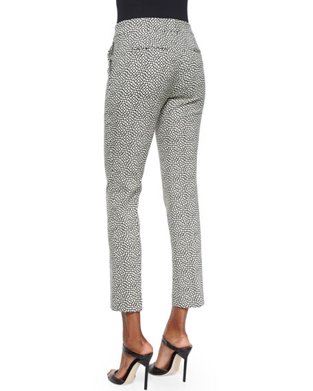 Pebble-Print Slim Capri Pants