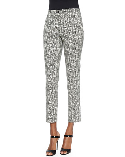 Pebble-Print Slim Capri Pants