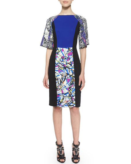 Etro Kimono-Sleeve Paisley Sheath Dress