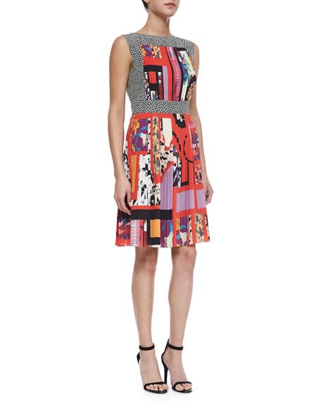 Etro Mixed-Print Accordion-Pleated Dress