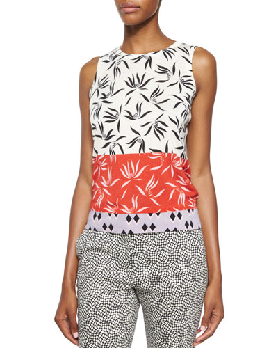 Stenciled Orchid-Print Cashmere-Blend Top