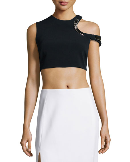 Mugler Hardware-Trimmed Keyhole Crop Top