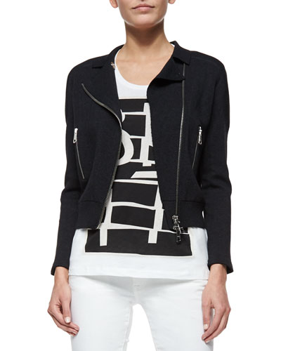 Cotton-Silk-Blend Biker Jacket
