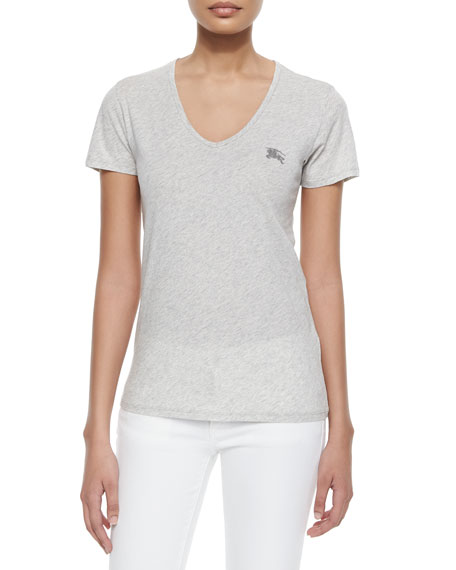 Burberry Brit Basic V-Neck Short-Sleeve Tee, Light Gray