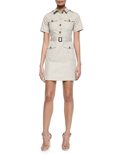 Safari-Style Short-Sleeve Dress, Tan