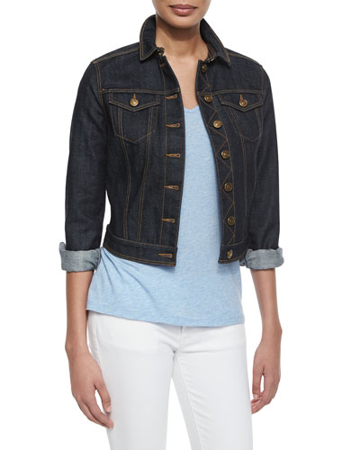 Denim Cropped Trucker Jacket