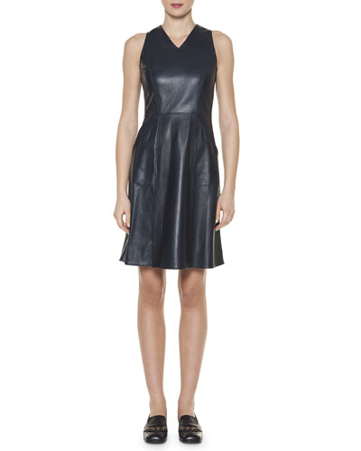 Rainproof Leather Seamed Dress