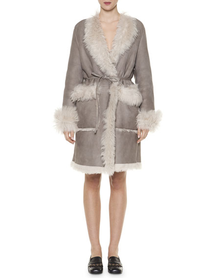 Tomas Maier Arctic Shearling Fur Wrap Dress, Sand