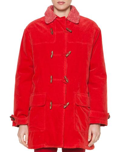 Sporty Velvet Fleece-Trimmed Toggle Coat