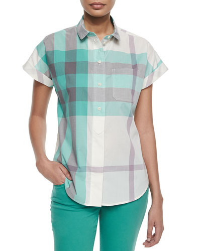 Short-Sleeve Half-Button Check Shirt, Pink/Green