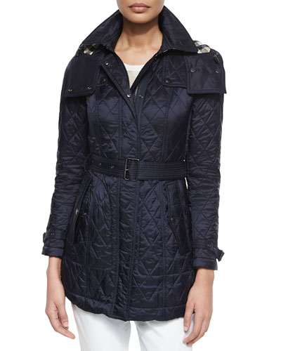 Technical Quilted Trench Parka, Navy
