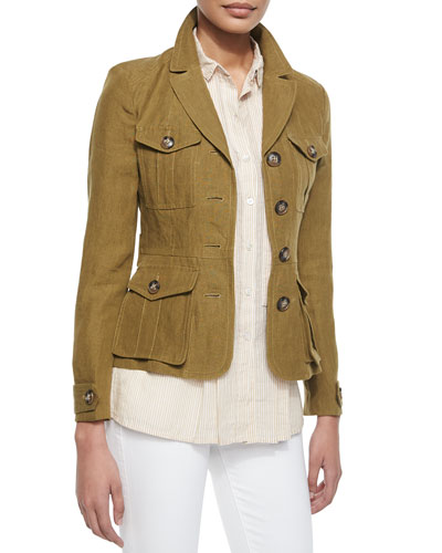 Single-Breasted Linen Safari Jacket, Olive