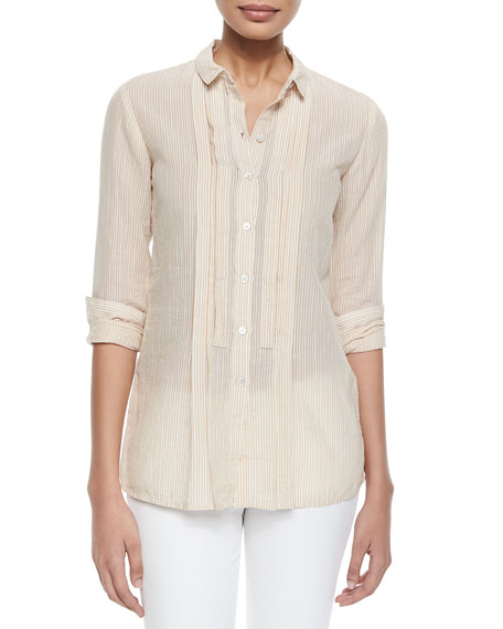 Burberry BritStriped Pleated-Front Shirt, Mustard