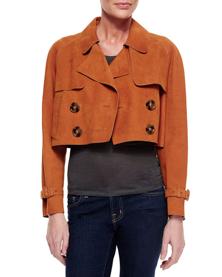 Burberry Brit Cropped Oversized Calfskin Leather Jacket, Burnt