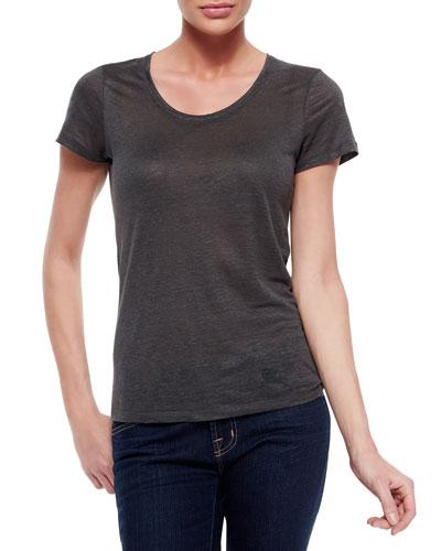 Basic Short-Sleeve Round-Neck Linen Tee, Dark Gray