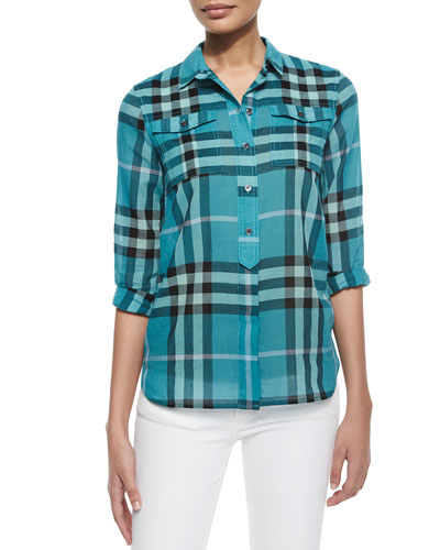 Long-Sleeve Check Flap-Pocket Shirt, Turquoise